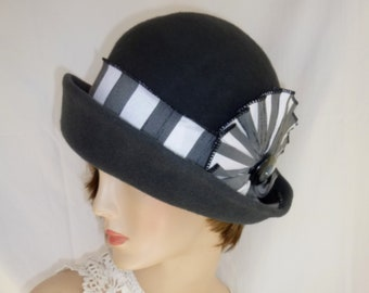 262c52f3ad2 Custom Bowler cloche ~ Miss Fisher hat