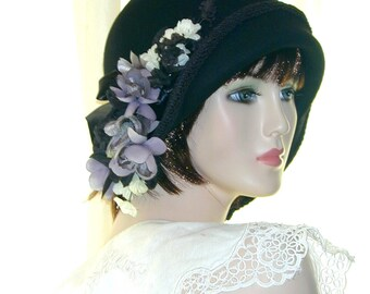 b77bd08e9a0b42 Black Custom Convertible 6 in 1 cloche w  floral fascinator- Downton Abbey  hat