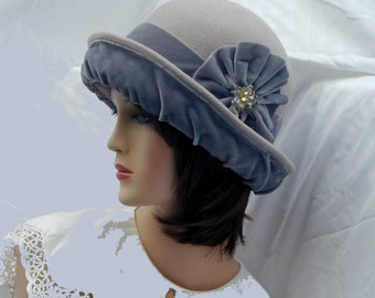 200f2abbcd4556 Convertible 4-way handmade gray wool and velvet bowler cloche - Miss Fisher