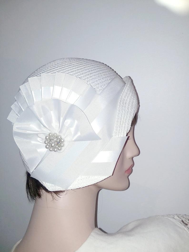 1920s Style Hats Cotton Straw flapper Gatsby summer cloche Downton Abbey hat Miss Fisher cloche $99.00 AT vintagedancer.com