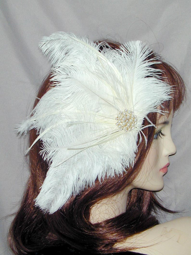Miss Fisher Ivory White Feather fascinator Hat Pin  pearl rhinestone