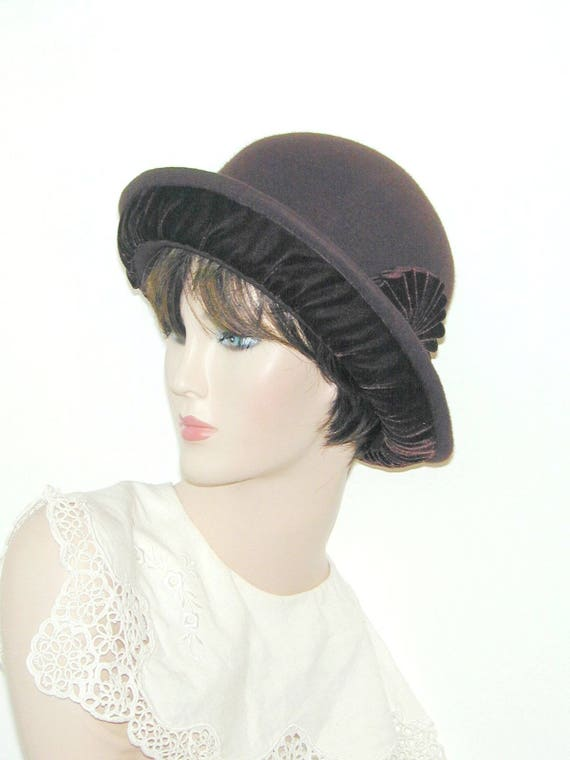 3c220ac249495 Convertible 4-way Custom wool and velvet bowler cloche - Miss Fisher,  Downton Abbey, Gatsby hat
