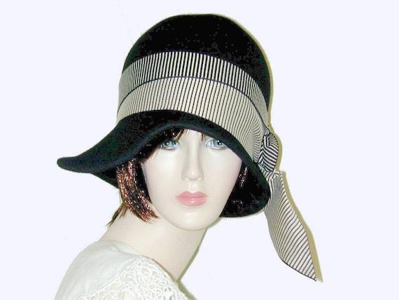 1238154017ccf Custom Black Vintage Gatsby Miss Fisher Asymmetrical cloche
