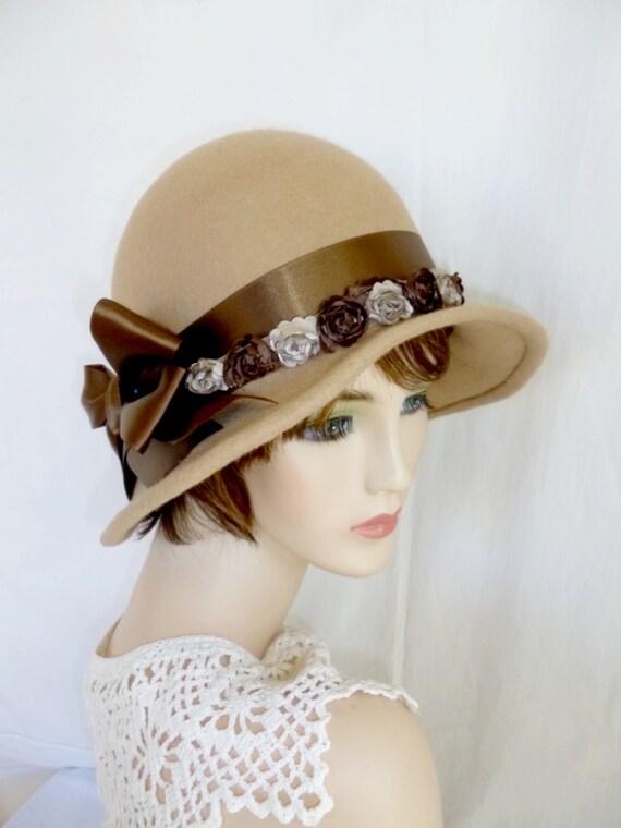 Espresso Brown 1920/'s Style Cloche Flapper Hat Flower Appliqu\u00e9 Downton Abbey Flannel Cotton Winter Spring Fall 21-22 Head Size