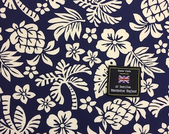 41080bb0 Navy Hawaiian Pineapple Print Cotton - 100% Cotton Poplin - Craft Cotton -  Quilting Cotton - By the Metre Fabric - Crafting - Sewing