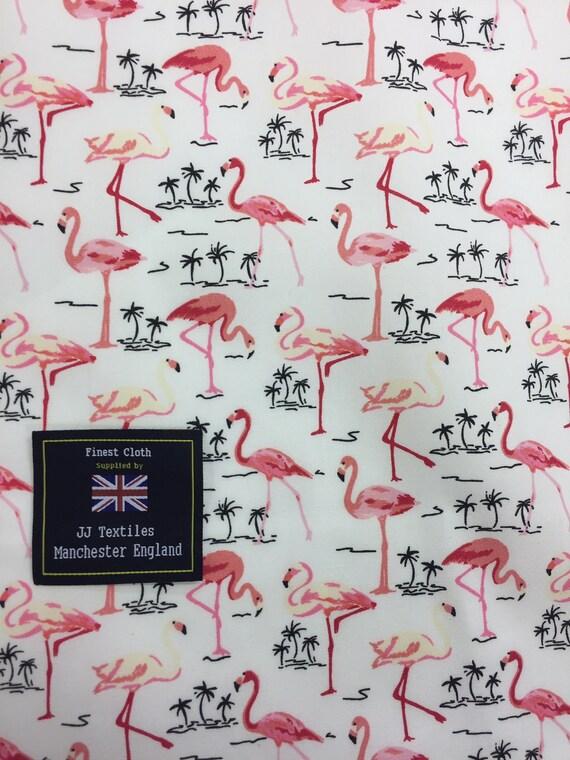 tropical palm trees Mint Green /& Pink Flamingo Cotton Poplin Printed Fabric