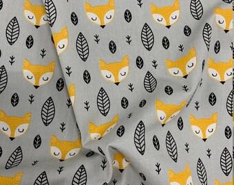 Grey Scandinavian Foxes Fox Winter Print Cotton  100% Cotton Poplin - Craft Cotton - Quilting Cotton - Crafting - Sewing