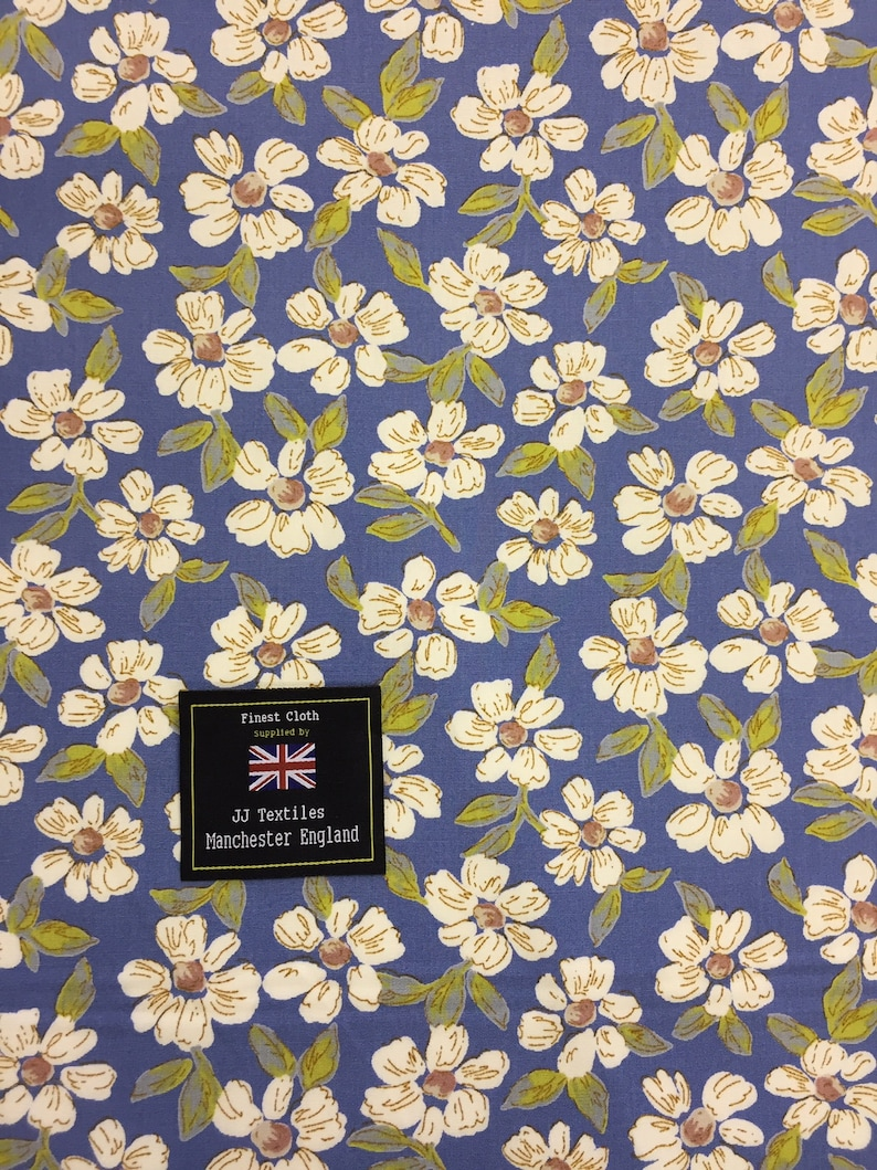Blue Turquoise Floral Fabric 100/% Cotton Poplin From The Craft Cotton Company