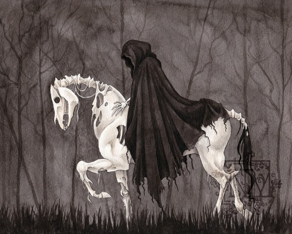 Fantasy Art Print Pale Horse Death | Etsy