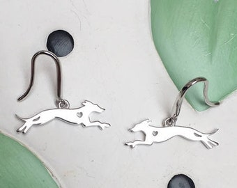 Italian Greyhound with Heart Cutout Sterling Silver Earrings - FREE SHIPPING