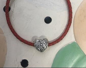 Heart Charm on a Silver Snake Bracelet - FREE SHIPPING