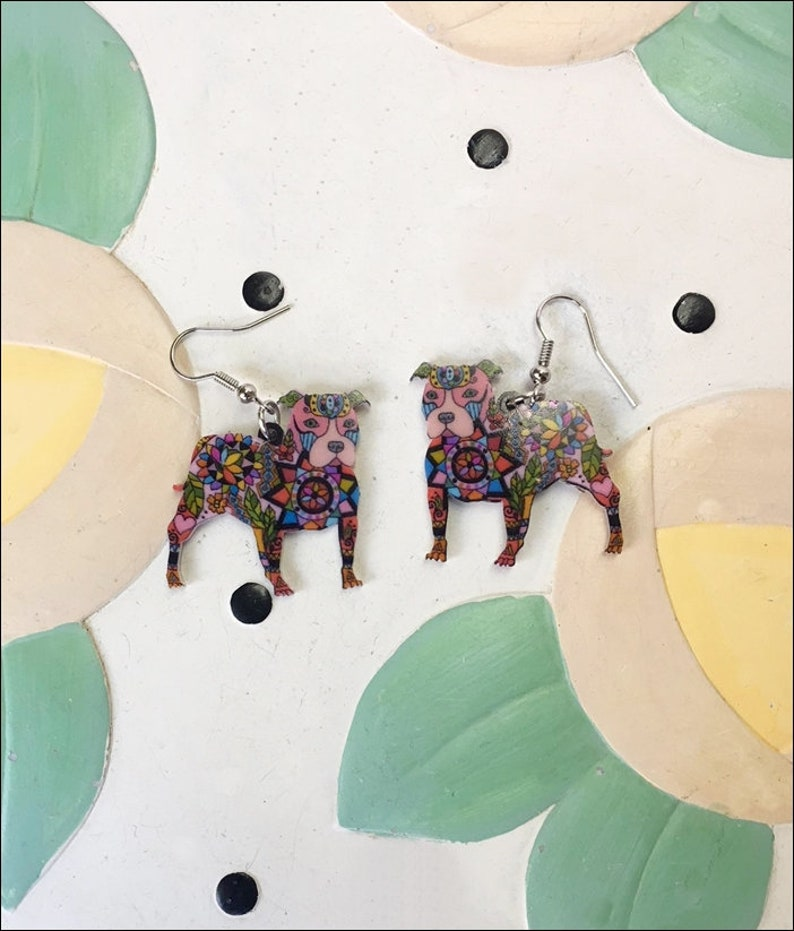 Pit Bull Acrylic Earrings  FREE SHIPPING image 1