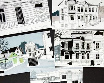 Urban sketches postcard set - 5 cards - Greeting card - Illustration - Olevus Art