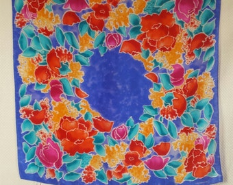 140827009b007 LIZ CLAIBORNE flower motif silk scarf in turquoise