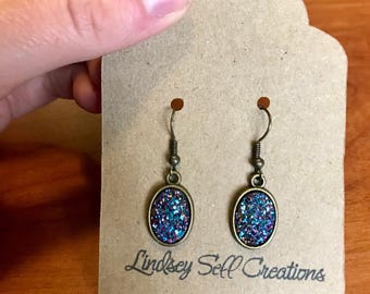 Bronze Magenta Blue Druzy Oval Dangle Earrings