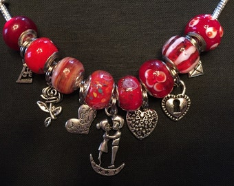 Sweet Valentine's Day boyfriend girlfriend charm bracelet - size 7