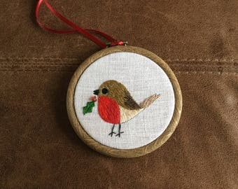 Hand embroidered Christmas hoops