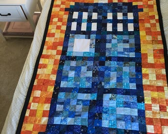 Lap Doctor Who TARDIS Quilt with Fleece Backing