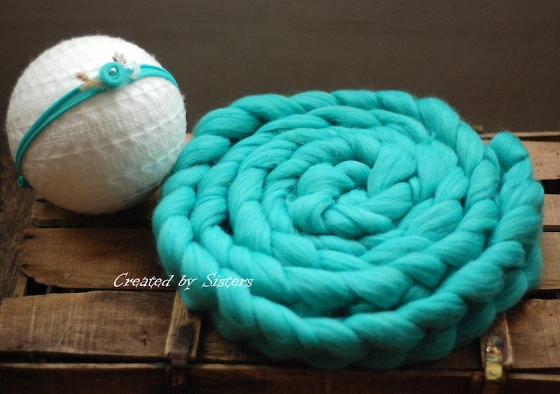 Basket stuffer Newborn photo prop Chunky knit braid Newborn prop Bump braid Wool braid basket filler Chunky Wool Braid
