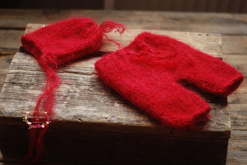 Mohair Knitted baby romper and bonnet set,Red color Newborn Bonnet Set Baby Bonnet Baby Photo Prop. Newborn Photo Prop