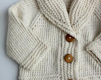 Hand Knit Baby Cardigan - Toddler - Grandpa Cardigan - Hand Knit Sweater - Shawl Collar - Fold Over Collar - Button Up Sweater