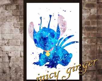 Stitch art print ,Stitch watercolor poster, Art Print, instant download, Watercolor Print, poster, Home Decor