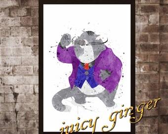 Fat Cat art print, Chip 'n Dale Rescue Rangers disney, watercolor poster, Art Print, instant download, WatercDecoolor Print, poster