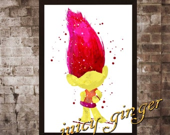 Mandy Sparkledus Poster,Trolls Watercolor, Home Decor, Art Print, instant download, digital printing, watercolor printing