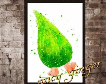 Fuzzbert Poster,Trolls Watercolor, Home Decor, Art Print, instant download, digital printing, watercolor printing