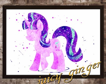 Starlight Glimmer Poster, My Little Pony Watercolor, Home Decor, Art Print, instant download, digital printing, watercolor printing