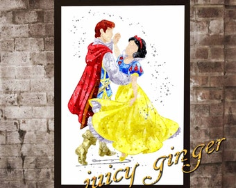 Snow White art print,Snow White and the Dwarves disney, watercolor poster, Art Print, instant download, WatercDecoolor Print, poster, Home r