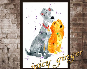 Lady and the Tramp art print ,Lady and the Tramp disney,watercolor poster, Art Print, instant download, Watercolor Print, poster, Home Decor
