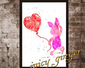 Piglet art print ,Winnie the Pooh disney, watercolor poster, Art Print, instant download, Watercolor Print, poster, Home Decor
