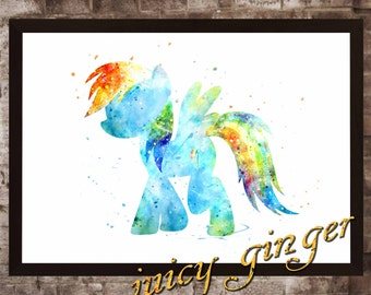Rainbow Dash Poster, My Little Pony Watercolor, Home Decor, Art Print, instant download, digital printing, watercolor printing