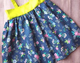 Floral dress, summer dress, sundress, pink flowers, girls summer clothing