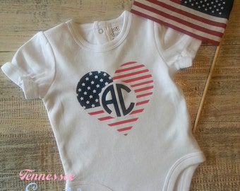 First July 4th, Monogram 4th of July, Monogram Patriotic, Monogram Flag, 4th of July Bodysuit, Baby July 4th, Memorial Day, Born on the 4th