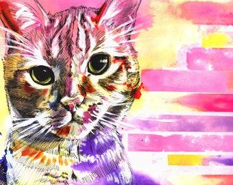 8x10  Sunset Watercolor Cat Art Print -  Free Shipping