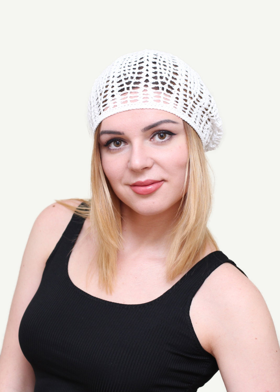 68bfbd74e29b2 Women s summer hat beret Summer white hat beret Crochet