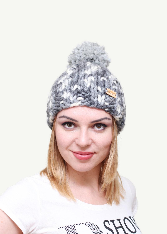 1a9197026c0 Knitted chunky wool yarn womens beanie hat with pom pom