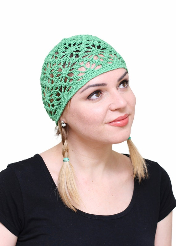 elegant shoes special sales 100% genuine Ladies summer beanie, Crochet green beanies, Girl's lace summer hats, Girls  lace summer hat, Woman's cotton hats, Women's hair accessory hat