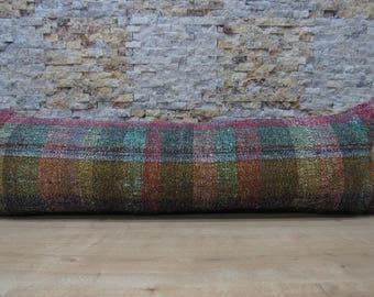 natural cotton hanmade authentic kilim pillow 16x48 large kilim cushion decorative boho pillow ethnic bohemian moroccan pillow code 066