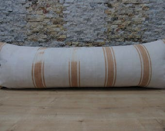 white kilim pillow 16x48 striped cream pillow turkish pillow handwoven decorative pillows bohemian pillow bolster home decor code 070