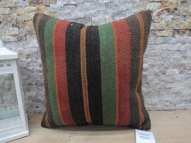 16x16 Turkish Kilim Pillow Ethnic Kilim Pillow Turkey Pillow Colorful Accent Pillow Handmade Carpet Pillow Bohemian Kilim Lumbar