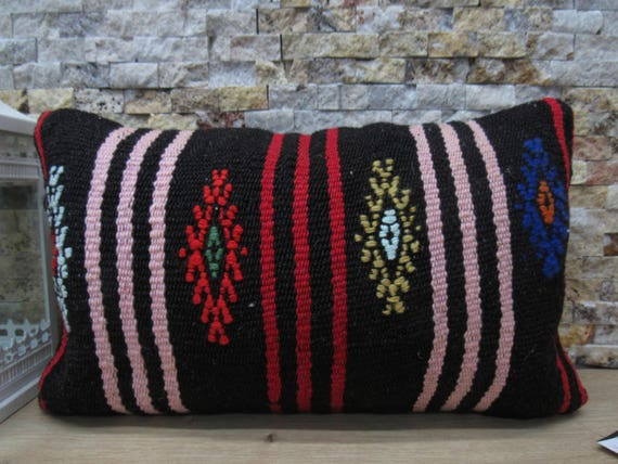 Embroidery Design Color Kilim Cushion 12x20 Handmade Pillow Etsy