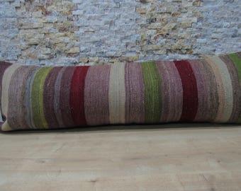 striped tribal kilim cushion 16x48 bohemian decorative pillow 16x48 embroidery design boho pillow floor pillow code 105
