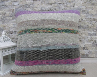 "Natural pure wool kilim pillow cover 16"" x 16"" turkish pillow bohemian bedding pillow handmade kelim cushion pillow boho pillow cover"