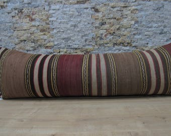 striped kilim pillow decorative pillow 16x48 kilim pillow aztec pillow bolster bohemian pillow boho floor kilim pillow code 040