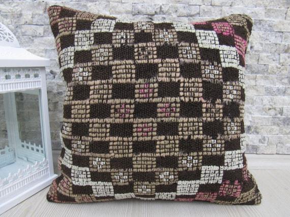 Turc Cushiaon 16 x 16 milieu broderie à la main Anatolie kilim coussin asiatique oreiller maison Divan coussin décoratif coussin