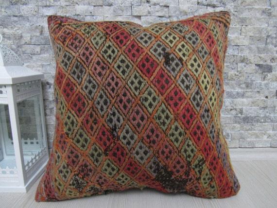 bohemian pillow turkish kilim pillow ethnic pillow throw pillow floor pillow organic kilim pillow 18 x 18 nomadic pillow