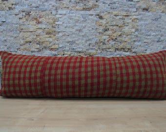 striped kilim pillow 16x48 flat handwoven decorative cushion throw pillow bohemian pillow 16x48 floor cushion ethnic pillow code 053